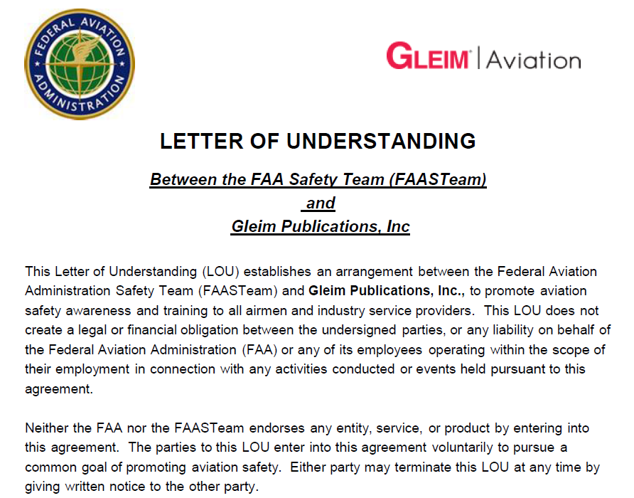 Gleim Aviation Supports Safety Signs Faa Letter Of Understanding