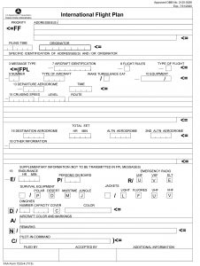 FAA Form 7233-4 (ICAO Flight Plan Form)